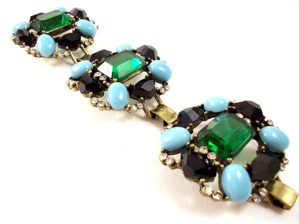 Luxe Turquoise & Emerald Statement Bracelet
