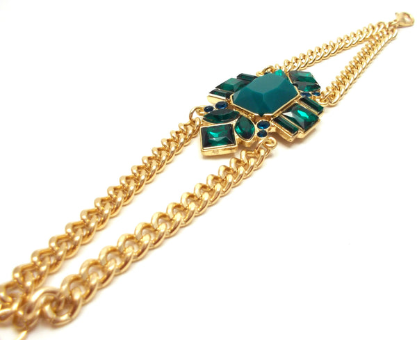 Emerald Jeweled Pendant Bracelet