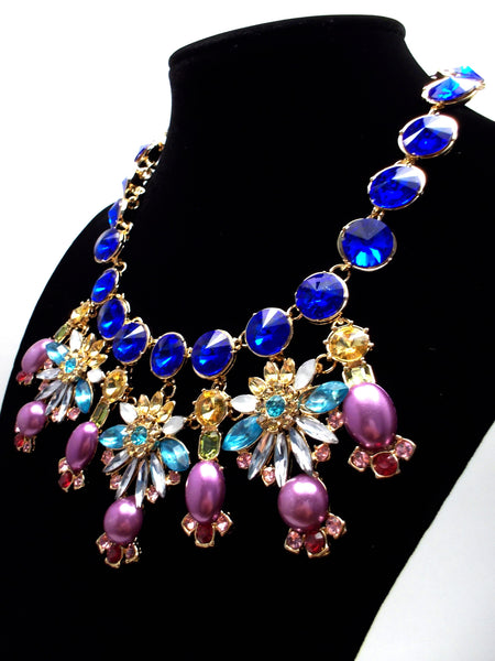 Cobalt Crystal & Pearl Firework Statement Necklace