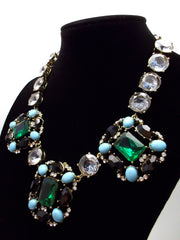 Luxe Turquoise & Emerald Statement Necklace