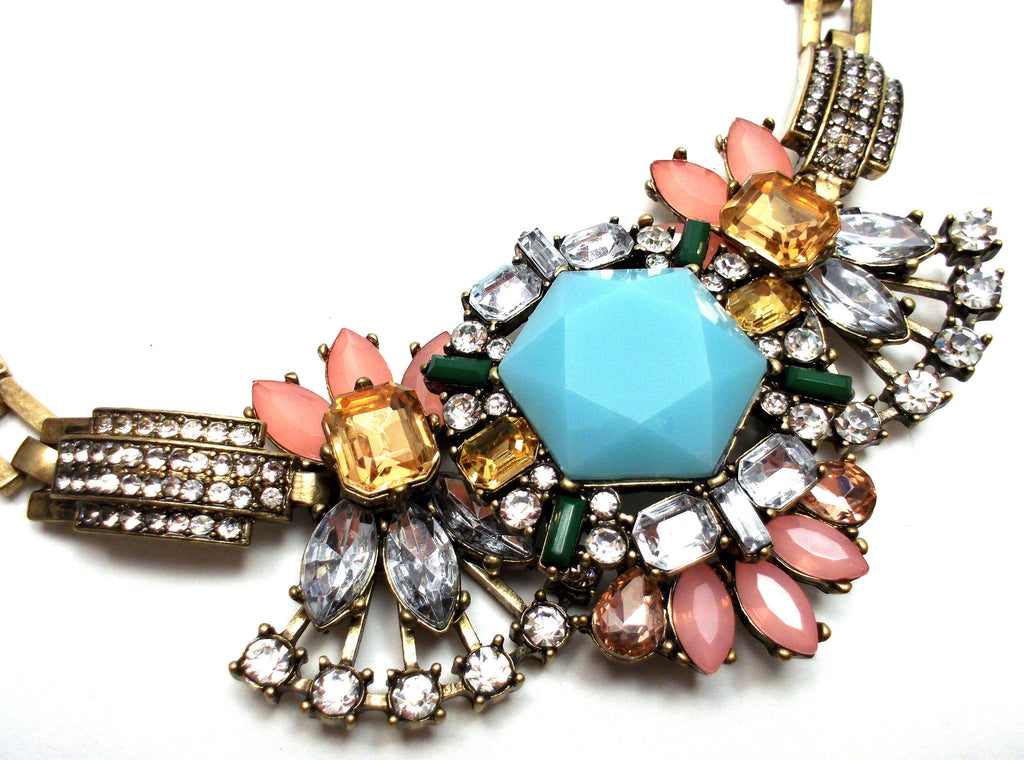 Luxe Crystal Compilation Statement Necklace- Light Blue
