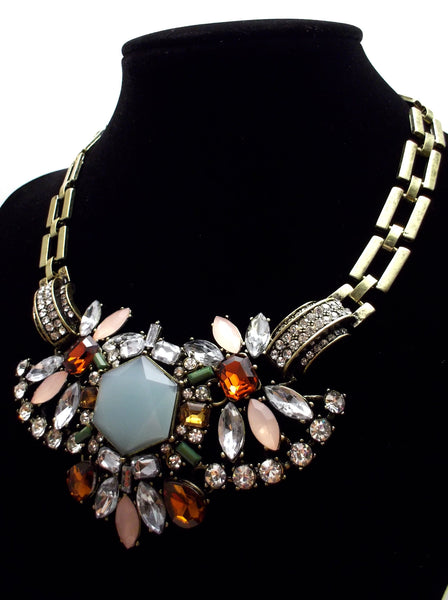 Luxe Crystal Compilation Statement Necklace Set- Sky Blue