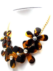 Tortoise Mini Flower Chain Necklace