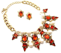Luxe Chunky Pearl & Deco Jeweled Statement Necklace- Red