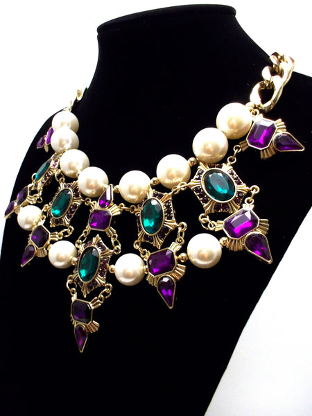 Luxe Chunky Pearl & Deco Jeweled Statement Necklace- Purple & Emerald