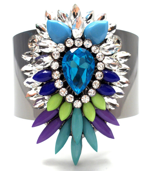Colorful Sparkle Pendant Cuff Bracelet- Blue
