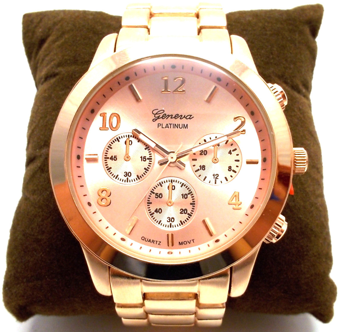 Metal Oversized Geneva Platinum Watch- Rose Gold