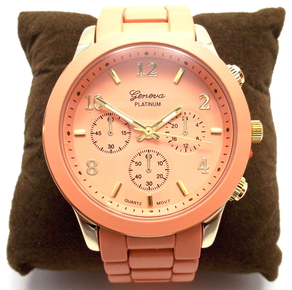 Ceramic Oversized Geneva Platinum Watch- Peach
