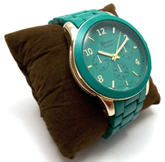Ceramic Oversized Geneva Platinum Watch- Jade Teal