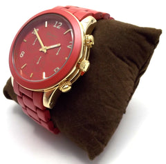 Ceramic Oversized Geneva Platinum Watch- Burgundy