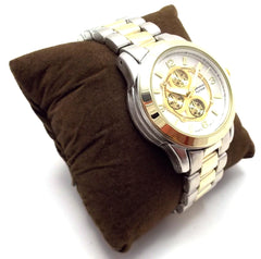 Metal Geneva Platinum Watch- Two Tone
