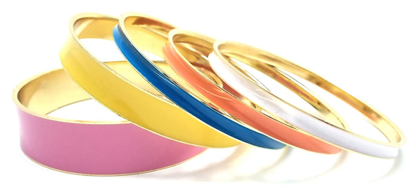 Multi-Colored Lacquered Bangle Set of 5- Pink Multi