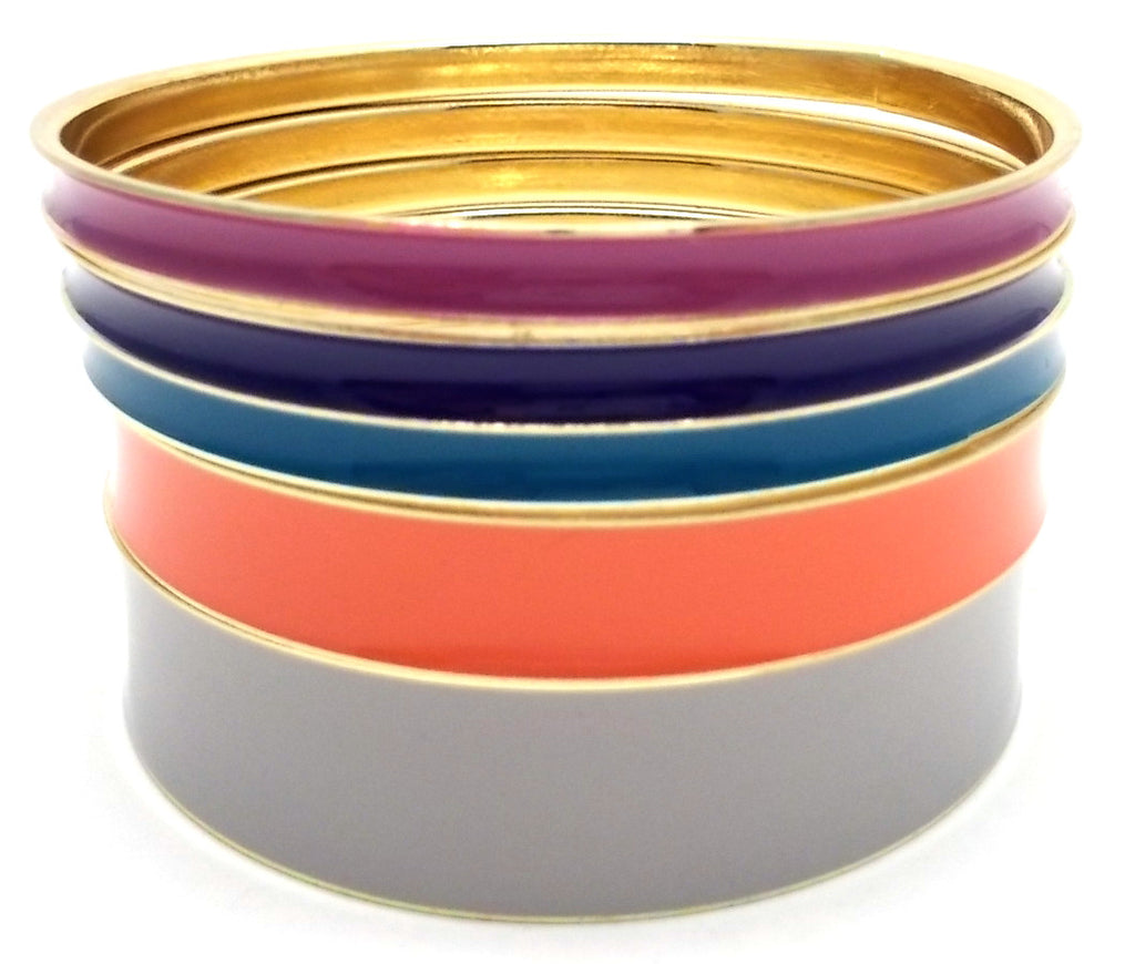 Multi-Colored Lacquered Bangle Set of 5- Grey Multi