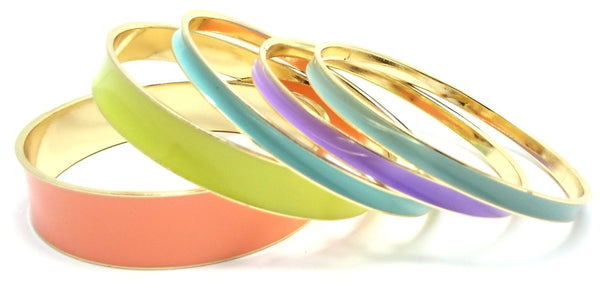 Multi-Colored Lacquered Bangle Set of 5- Neon