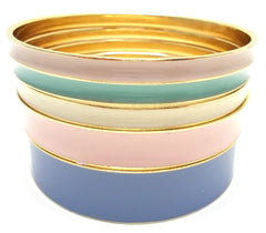 Multi-Colored Lacquered Bangle Set of 5- Pastels