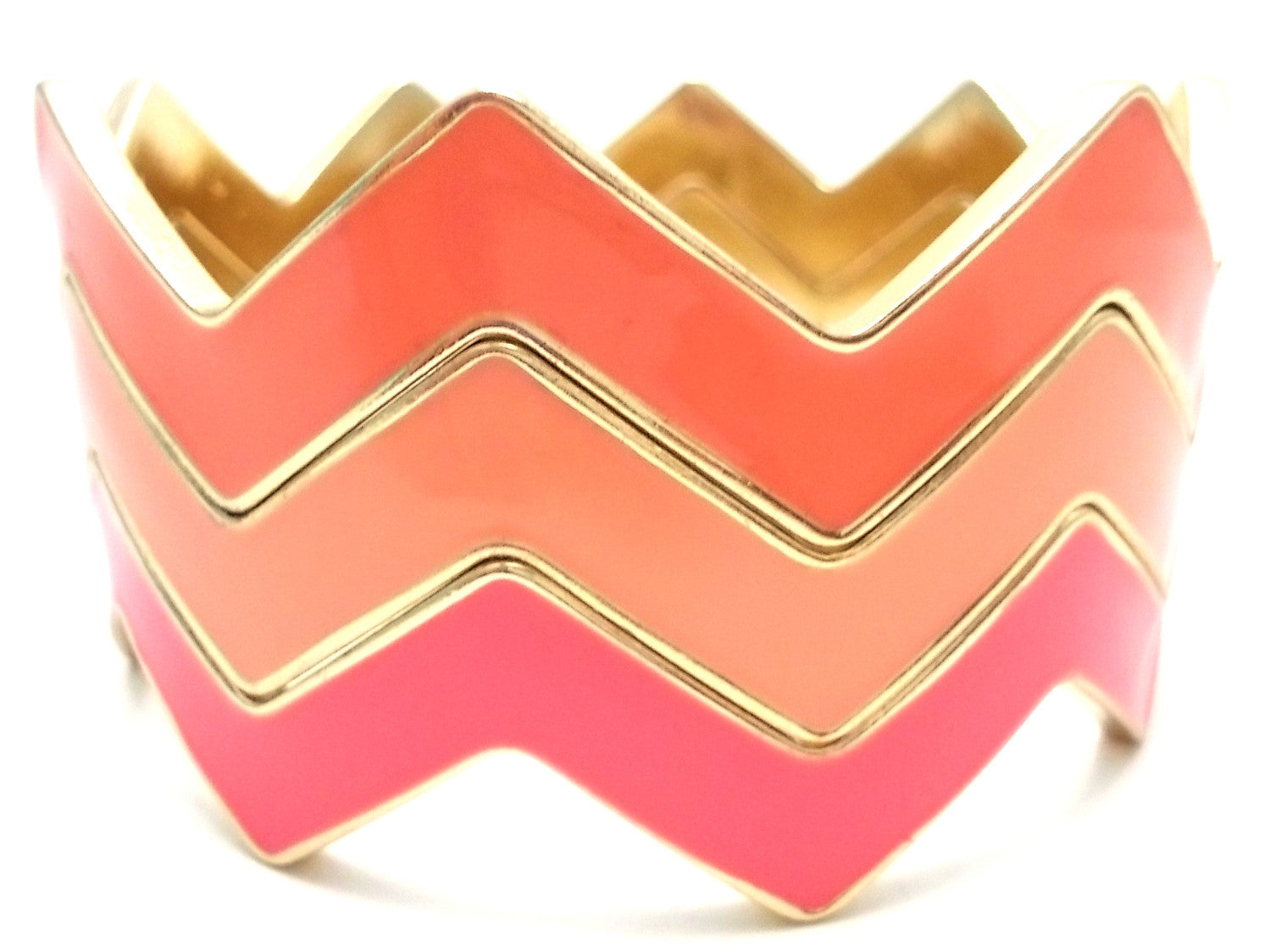 Chevron Bangles Set of 3- Coral