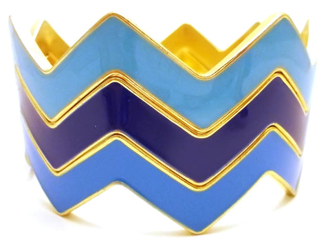 Chevron Bangles Set of 3- Blue