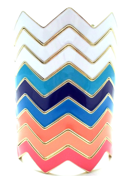 Chevron Bangles Set of 3- White