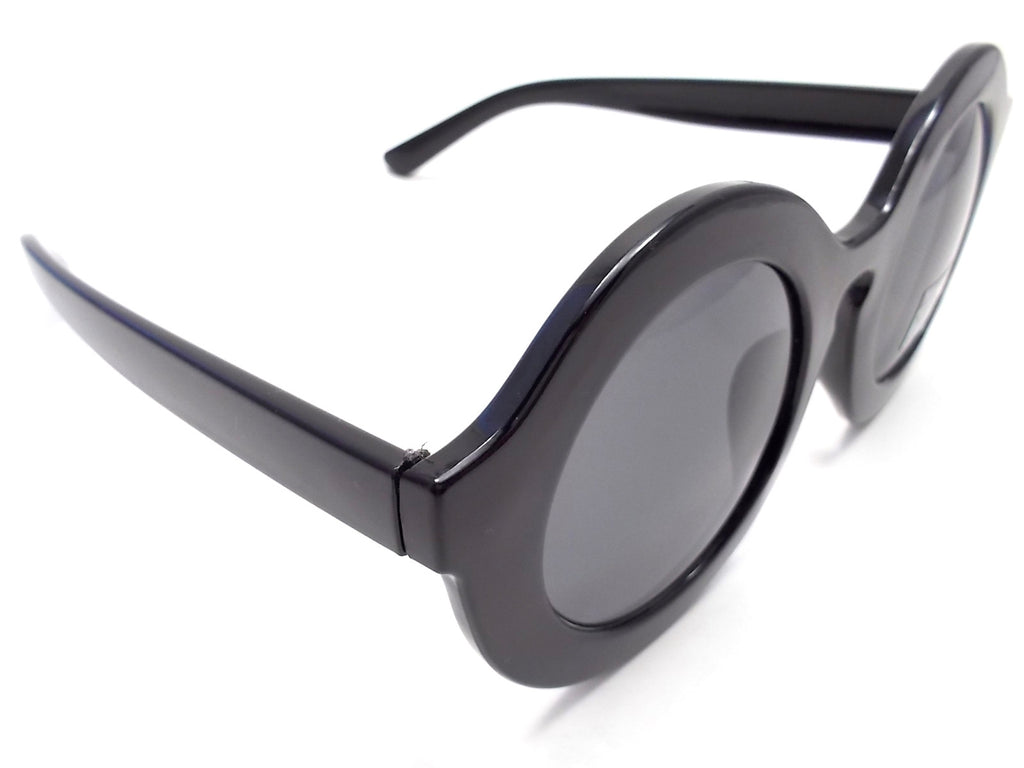Retro Round Sunglasses- Glossy Black