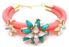 Neon Rosette Cord Bracelet- 2 Color Options