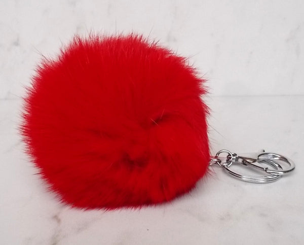 Faux POM Charm/Keychain Large- Red