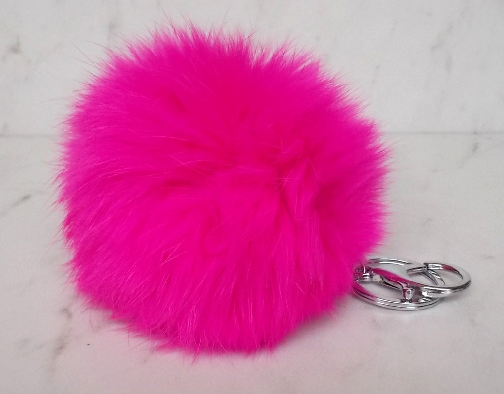 Faux POM Charm/Keychain Large- Hot Pink