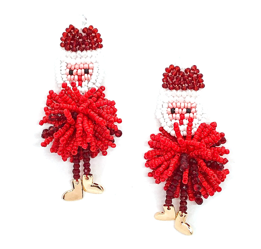 Santa Pom Beaded Fringe Earrings