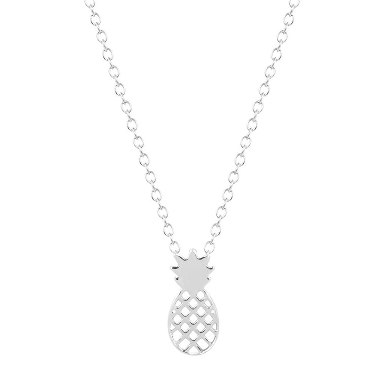 Pineapple Pendant Dainty Necklace- Silver