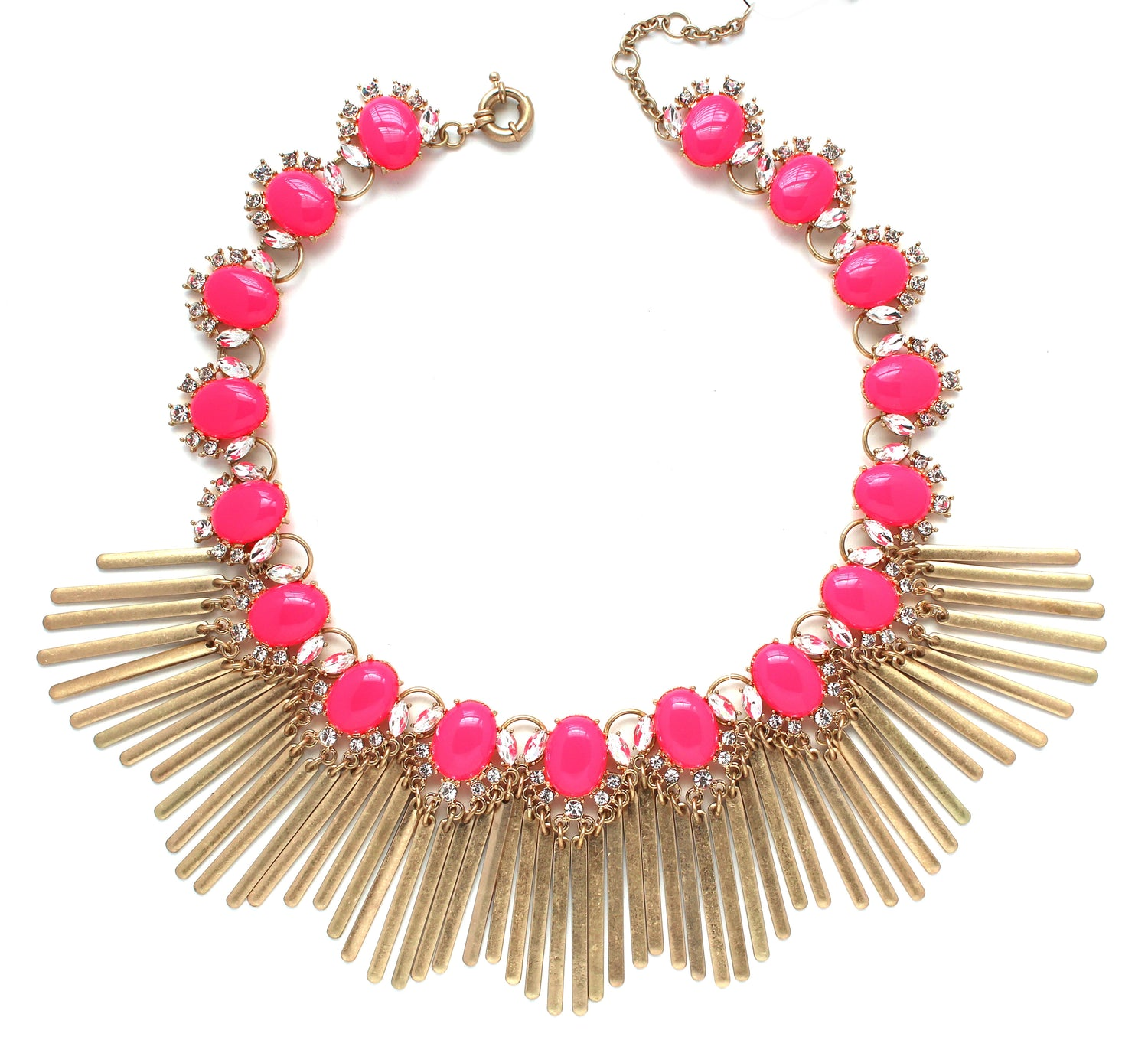 Boho Fringe Envy Statement Necklace- Hot Pink