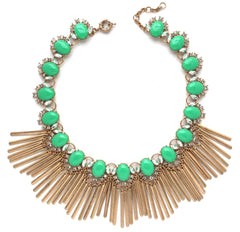 Boho Fringe Envy Statement Necklace- Green