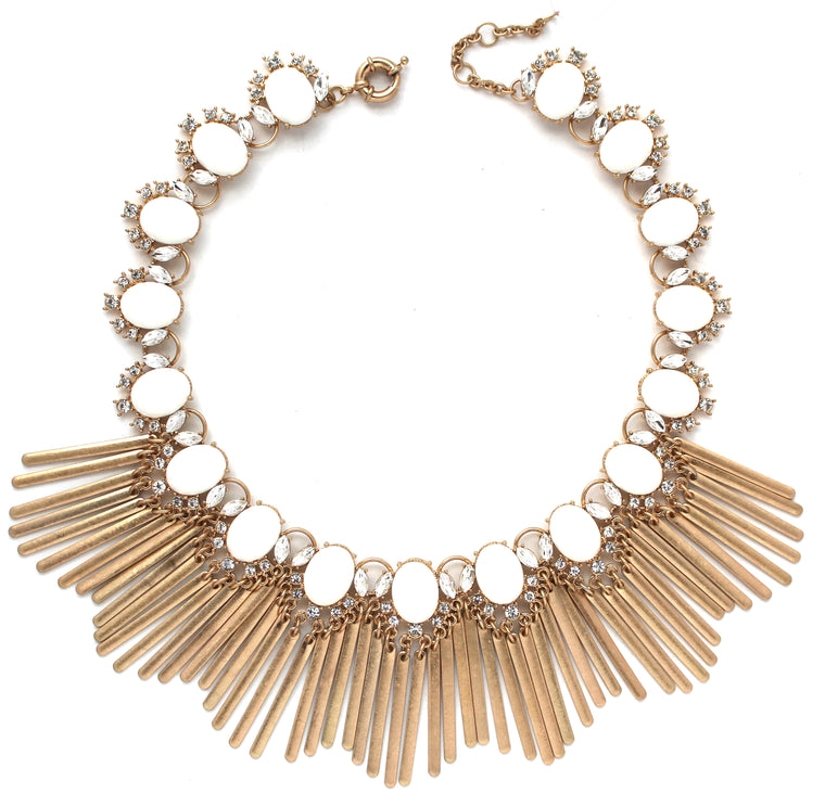 Boho Fringe Envy Statement Necklace- White