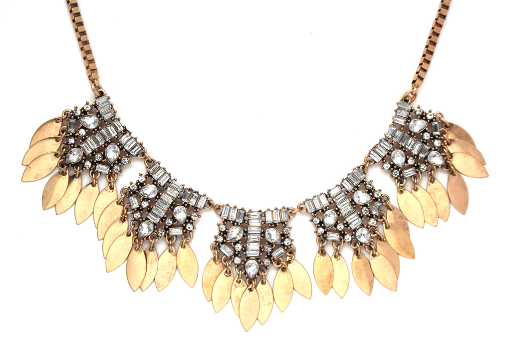 Golden Monté Crystal Fringe Necklace