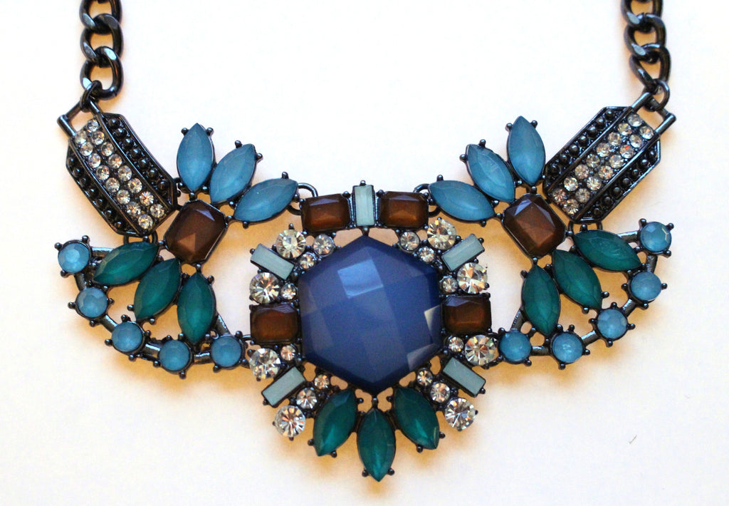Blue Crystal Compilation Necklace