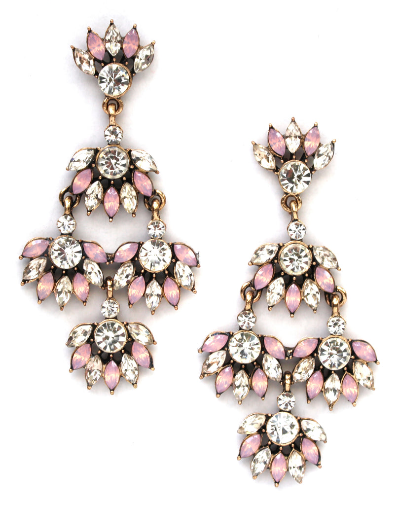 Shiny Rosé Blooms Statement Earrings
