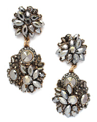 Viviana Cluster Stone Earrings- Gunmetal