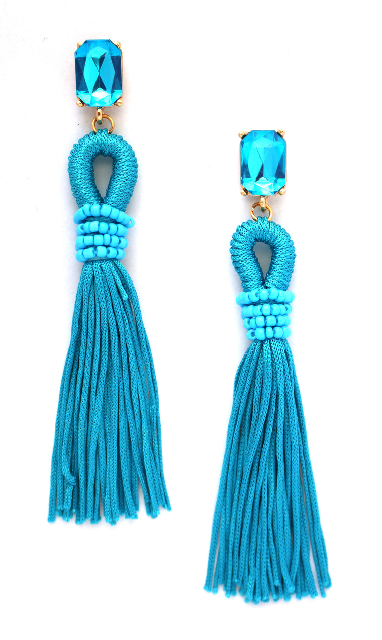 Andrea Sky Tassel Earrings- Turquoise