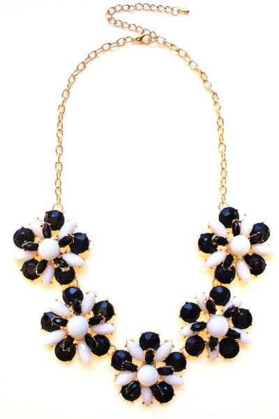 Floral Jeweled Gemstone Necklace- Black & White