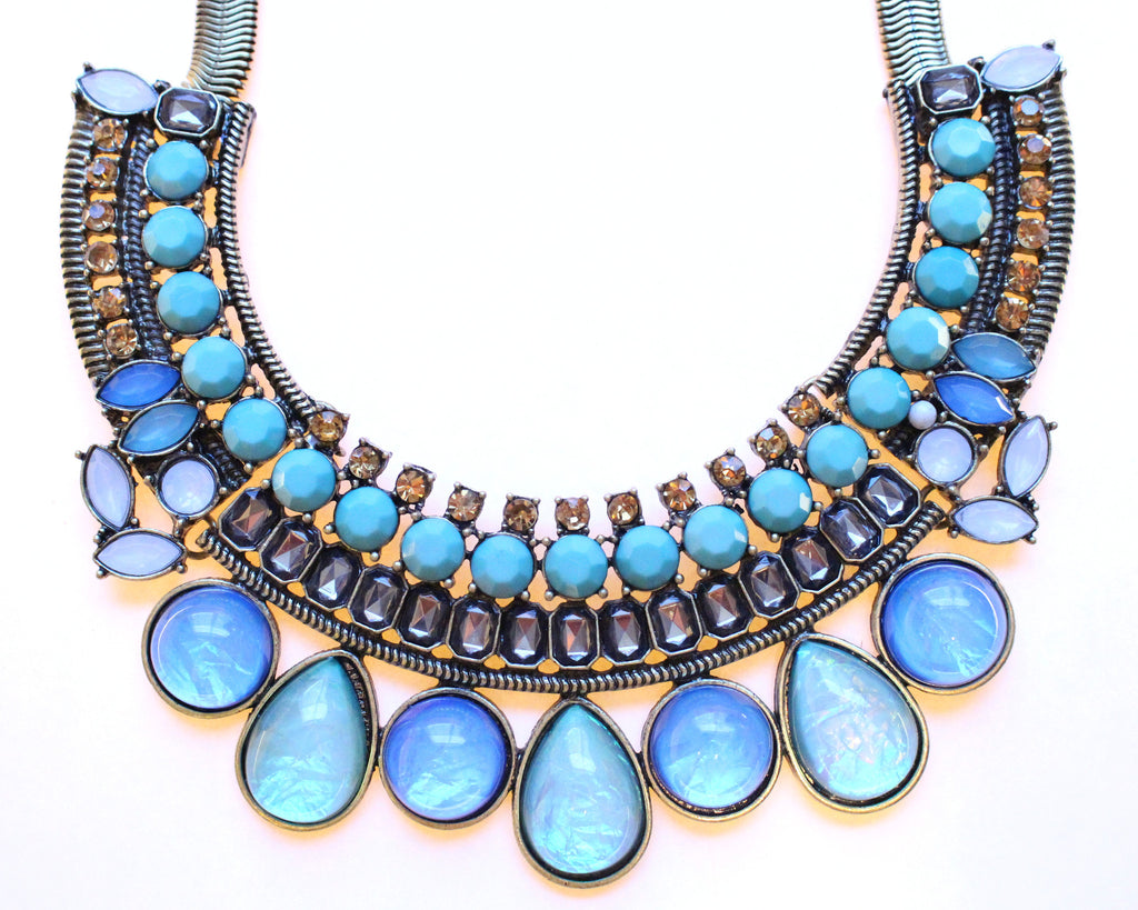 Crystal & Opal Bib Statement Necklace- Turquoise & Mint