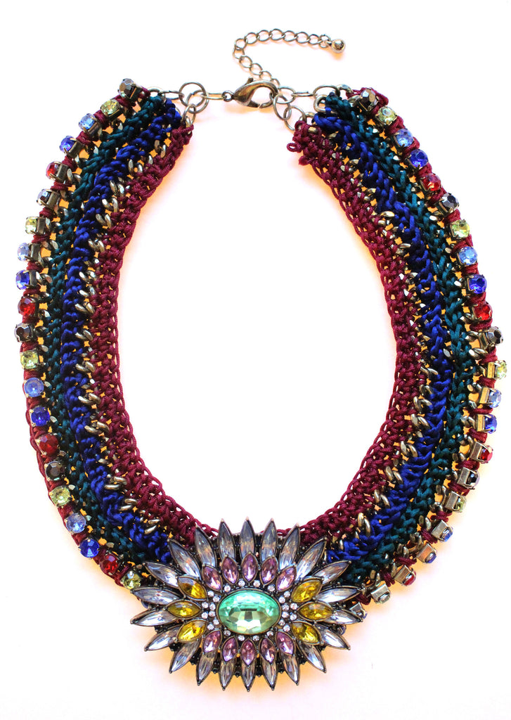 Luxe Chunky Woven & Crystal Statement Necklace