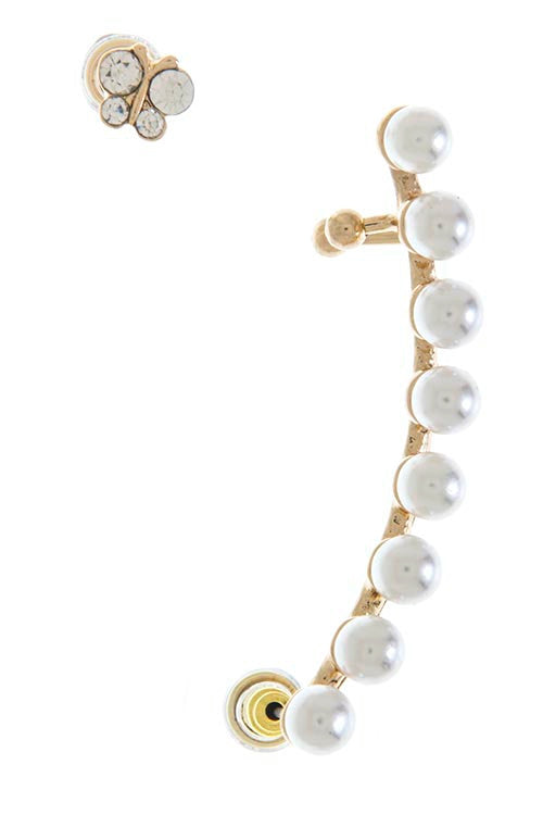 Pearl Aligned Ear Cuff Set- Gold