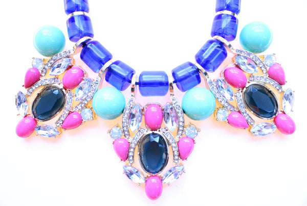 Chunky Beaded Stone & Crystal Statement Necklace
