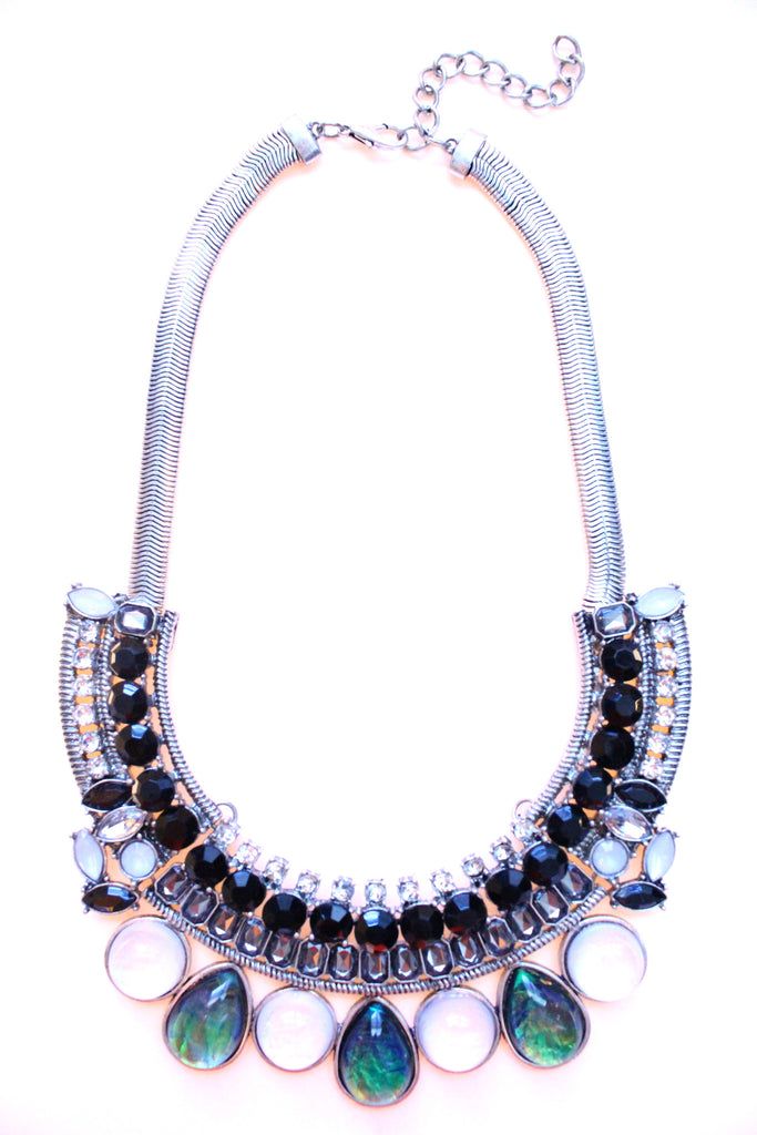 Crystal & Opal Bib Statement Necklace- Black & Silver