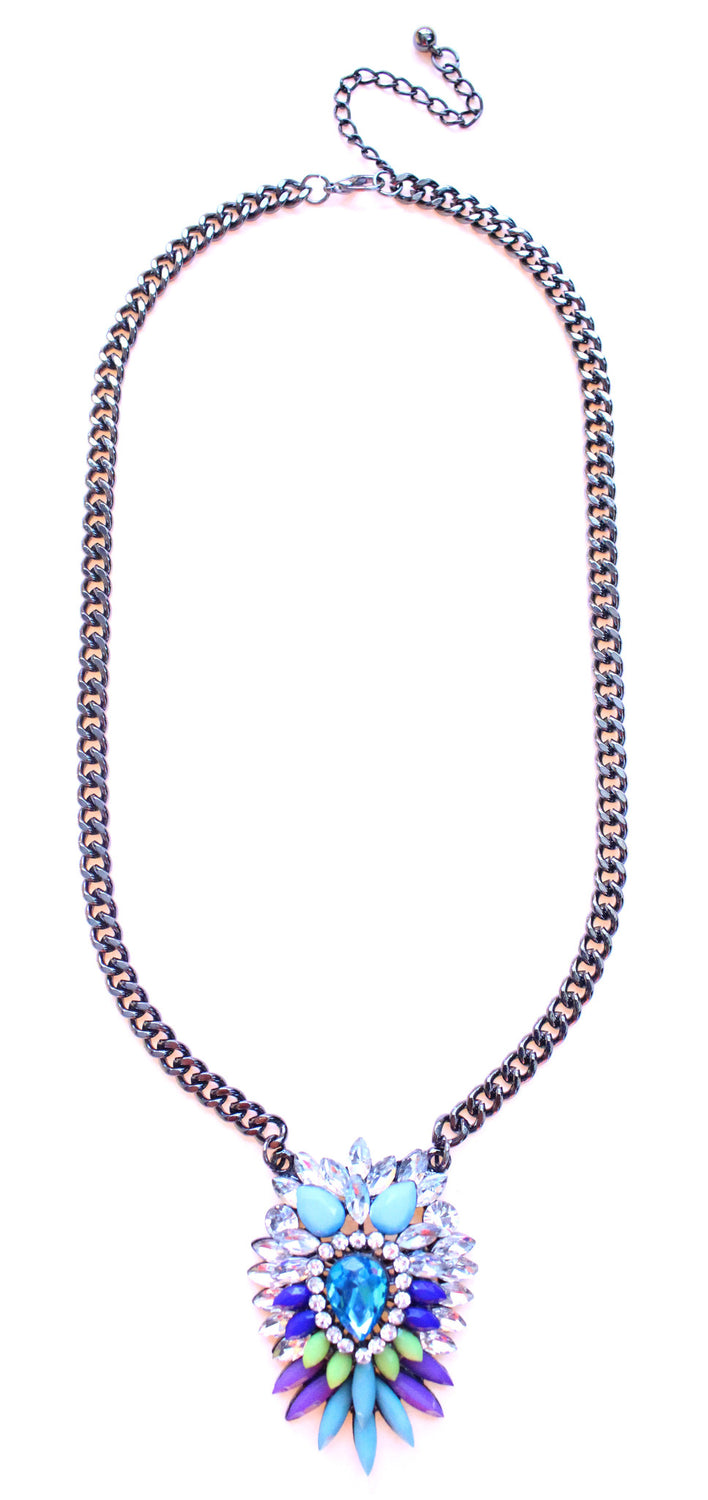 Colorful Sparkle Pendant Necklace- Blue Multi