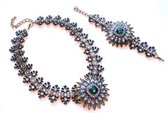 Luxe Crystal Flower Statement Necklace- Emerald