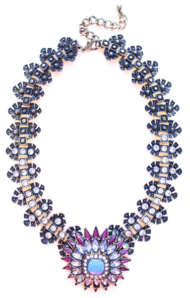 Luxe Crystal Flower Statement Necklace- Purple & Turquoise
