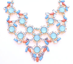 Pastel & Neon Bib Statement Necklace- Mint