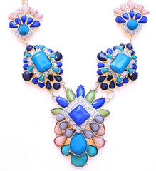 Pastel Peach & Bright Blues Statement Necklace