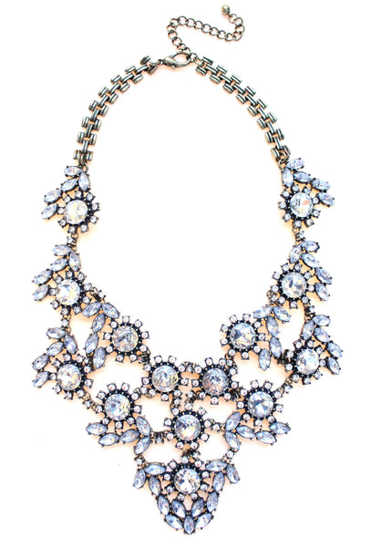Luxe Sparkle Crystal Floral Statement Necklace
