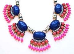 Fan Fringe Statement Necklace- Navy
