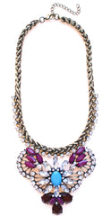 Rustic Glam Crystal Pendant Statement Necklace-Purple & Turquoise